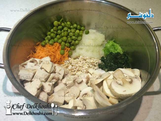 سوپ جو با مرغ و قارچ و سبزیجات - Delkhoshi.com