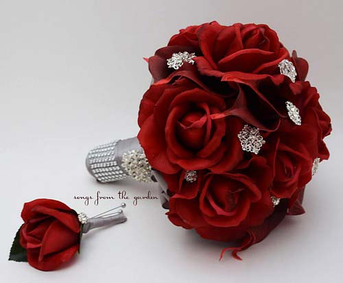 مدل دسته گل عروس قرمز رز